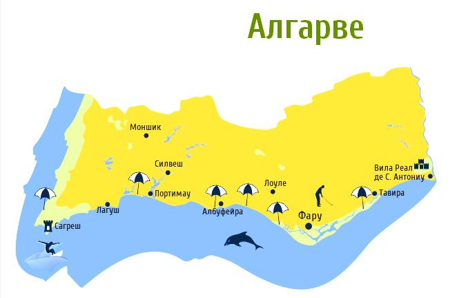 Карта региона Алгарве